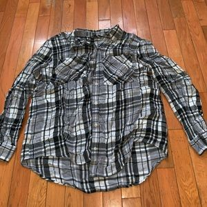 Grey and Black Plaid Shirt